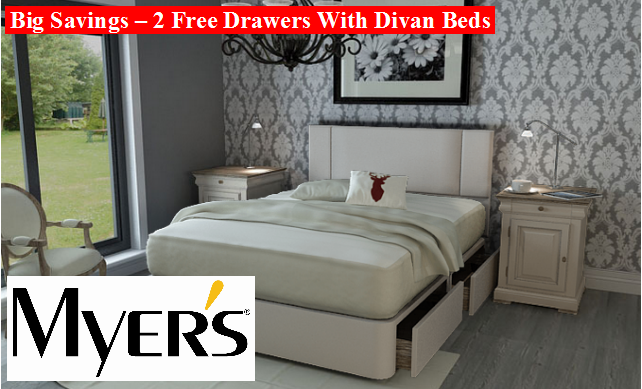 Myers Promotion - 2 Free Divan Drawers